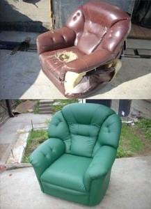 Кресло до и после перетяжки